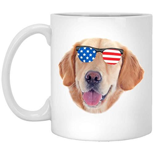 N\A Golden Retriever Divertido Dorado con Gafas de Sol con Bandera Americana, Taza de café Blanca, 11 oz