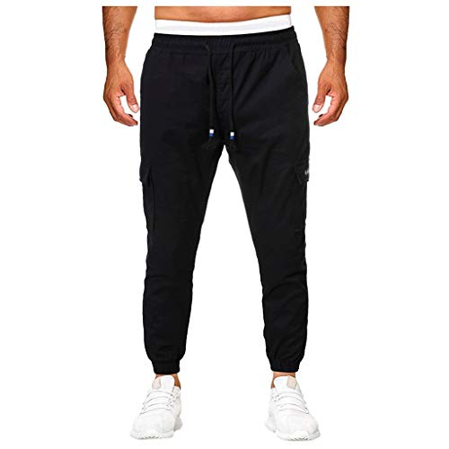 Mens Athletic Pants,Casual Workout Track Pants Comfortable Slim Fit Tapered Sweatpants with Pockets Black