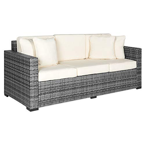 Best Choice Products 3-Seat Outdoor Wicker Patio Sofa w/Removable Cushions, Gray