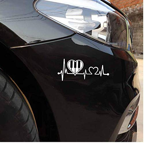 Yangjingkai 2 Stks Mooie Piano Heartbeat Band Vinyl Motorfiets Sticker Auto Sticker Wit 14 Cm*6 Cm