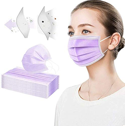 Filtros de polvo facial, 50 unidades, 3 capas de protección transpirable 50 pcs morado