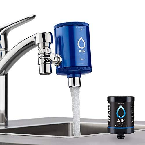 Alb Filter® Duo Active Trinkwasserfilter   Armatur Anschluss   Filtert Schadstoffe, Chlor, Blei, Pestizide, Mikroplastik   Set mit Gehäuse und Kartusche   Made in Germany Dunkelblau