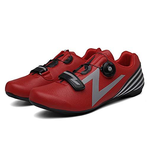 LU-Model Zapatillas de Ciclismo para Carretera Plus, con Suela de y Sistema rotativo de precisión Suela Dura para Zapatos de Montar sin Bloqueo Red-43