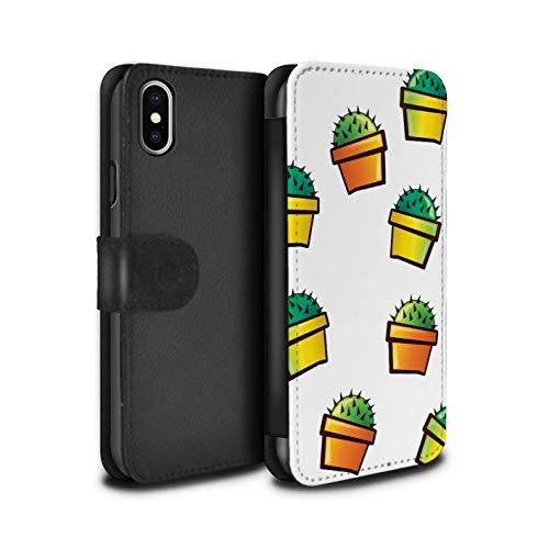 eSwish PU-lederen hoes/case/tas/cover voor Apple iPhone XS Max/bloempot/huispatroon/karikatuur cactuscollectie