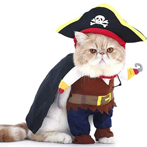 Disfraz de pirata caribeo para mascotas, ropa de fiesta para mascotas, ropa de cosplay de Halloween y Navidad, suave y agradable para la piel, elegante y dominante, para Accin de Gracias, Pascua