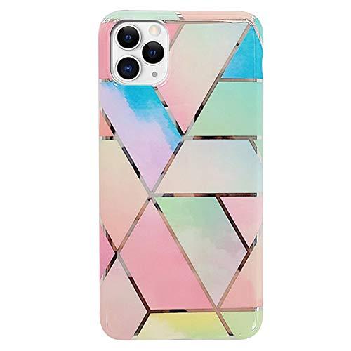 Ysimee Compatible avec iPhone 11 Pro Max Coque Géométrique Marbre Design Plaquée de Couleur Housse en TPU Silicone Souple Glitter Sparkle Etui Ultra Mince et Léger Anti-Scratch Bumper Cas,Bleu Rose