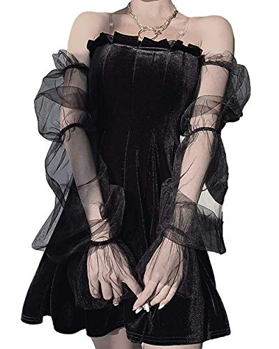 Vestido midi de terciopelo negro con cuello redondo, estilo retro, de manga larga, cuello redondo, color negro