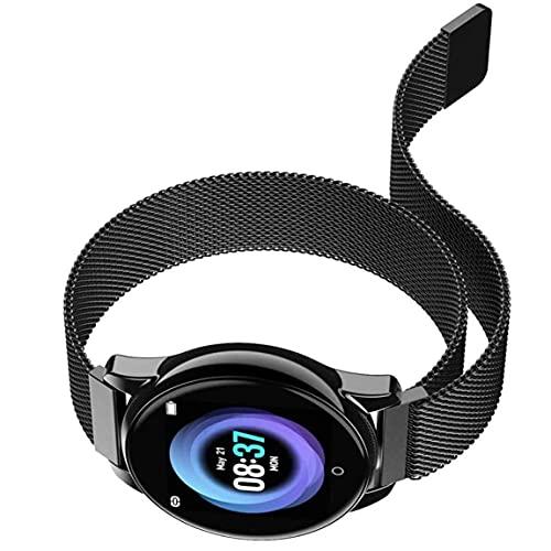 Fitness Trackers Reloj de Pulsera con Monitor de presión Arterial y frecuencia cardíaca a Prueba de Agua Compatible con Android iPhone-Plateado
