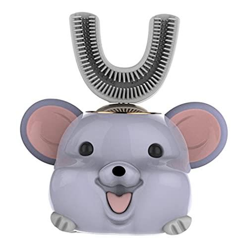 perfeclan Cepillo de dientes eléctrico para niños Cinco modos inteligentes Limpieza de 360 ° en forma de U Diseño impermeable Cepillos de dientes automáticos - Rata azul