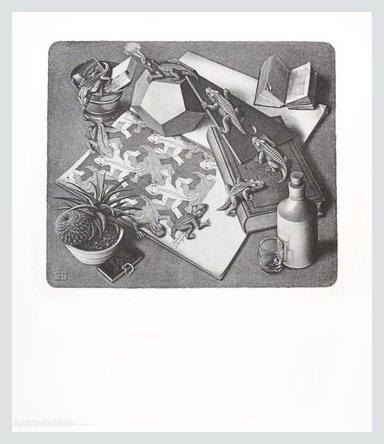 Germanposters MC Escher Poster Kunstdruck Bild Reptilien im Alu Rahmen in Champagne 71x61cm