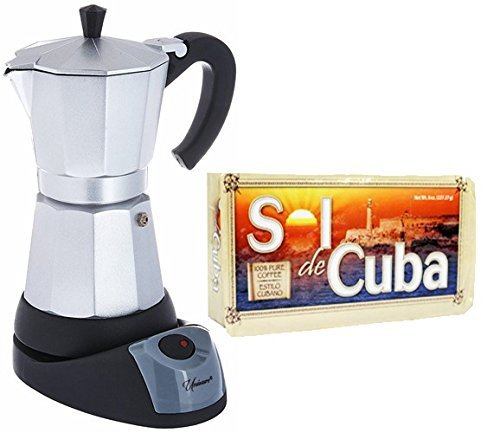 Electric Cuban/Espresso Coffee Maker 6 Cups. 8 oz Pack of Coffee Included