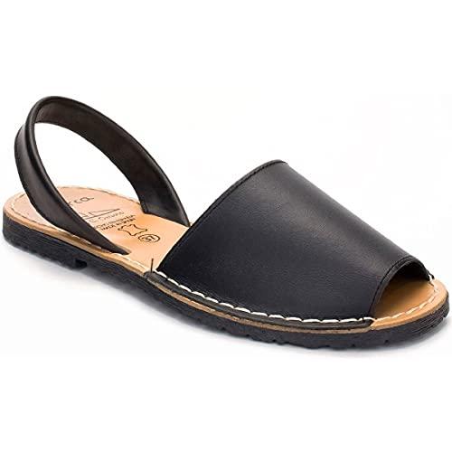 Zapatos Menorquina Piel Cuero Hecho en España Sandalia. (M NEGRAS, numeric_39)