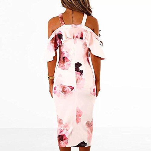 Vestidos de Mujer, ASHOP Vestido Verano 2018 Sin Mangas Casual Ajustados T-Shirt Vestido Coctel Fiesta Largo Dress Estampado Floral Boho Playa Falda Elegantes en Oferta Baratos (L, Rosado)