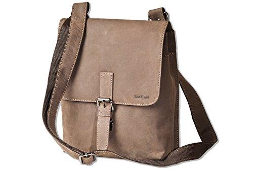 Woodland® luxe schoudertas van natuurlijk buffelleer in donkerbruin/taupe