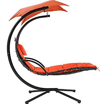 Patio Chair Hanging Lounge Chair Hanging Chaise Lounger Chair Floating Chaise Canopy Swing Lounge Chair w/Built-in Pillow and Removable Canopy Hammock Arc Stand Air Porch Stand  Orange