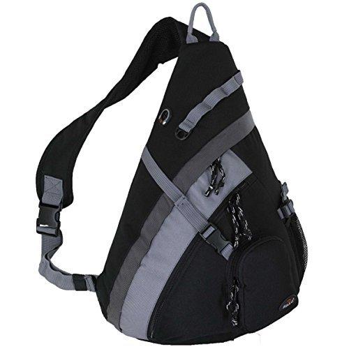 HBAG 20' Crossbody Sling Backpack Single Strap School Travel Sports Shoulder Bag, Black