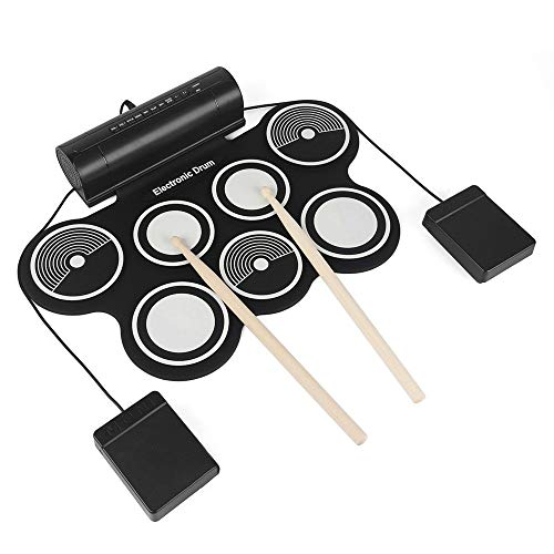 Buy Cheap MAODATOU Electronic Drum Set Electronic Drum Combination Practice MIDI Drum Kit with 7 Sil...