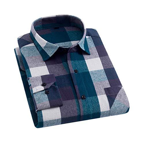Chyoieya Camisa de franela cepillada de algodón de moda para hombre de manga larga con un solo bolsillo delgado y ajuste juvenil a cuadros ocasionales
