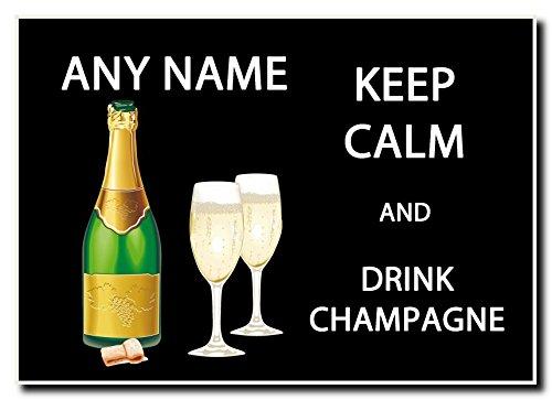 Houd kalm en drink champagne gepersonaliseerde Jumbo magneet