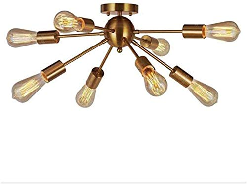 Mid Century Modern Plafond licht, Sputnik Lamp Kroonluchter Kroonluchter 8 Lights Modern messing plafond lichtpunt Gold Industrial Vintage hanglamp