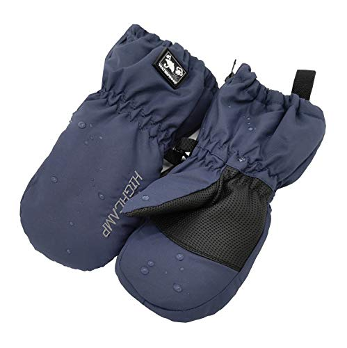 Kids Toddlers Boys Girls Ski Snow Mittens Winter Waterproof Gloves with Zipper- Navy, XS (1-3 Years)