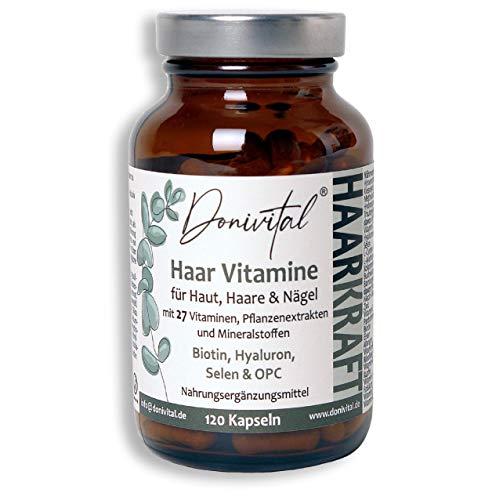Donivital® Haar-Vitamine - 27 hochdosierte Vitalstoffe - Biotin, Hyaluron, Kieselerde, Hirseextrakt und weitere Mikronährstoffe - 120 vegane Haarkapseln für 2 Monate. Für Frauen, Männer und den Bart