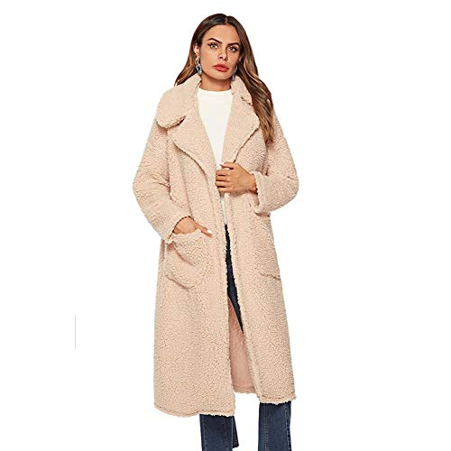 ELEAMO Teddy jas lange vrouwen vest winter revers dikker warme knie lange taille vrouwen katoenen jas met zak Beige