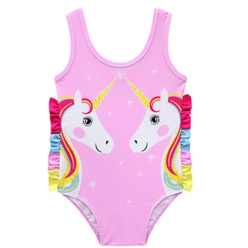 Traje de Baño Unicornio Bañador Niña de Una Pieza Bañador de Natación Vacaciones Playa para Niñas 3-10Años