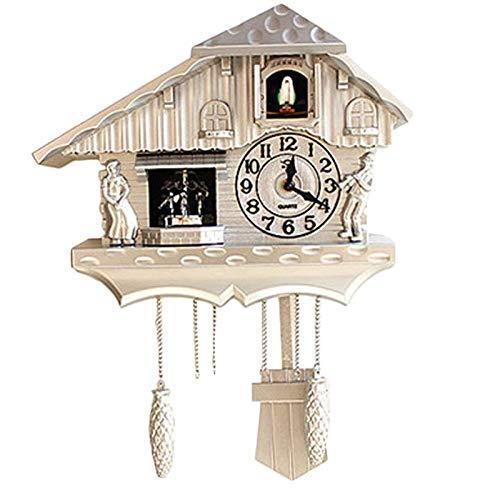 LOVEHOUGE Reloj De Cuco Reloj Tradicional De Chalet De La Selva Negra Reloj De Cuarzo Artesanal Reloj De Pared De Cuco De Madera Retro Vintage,Blanco