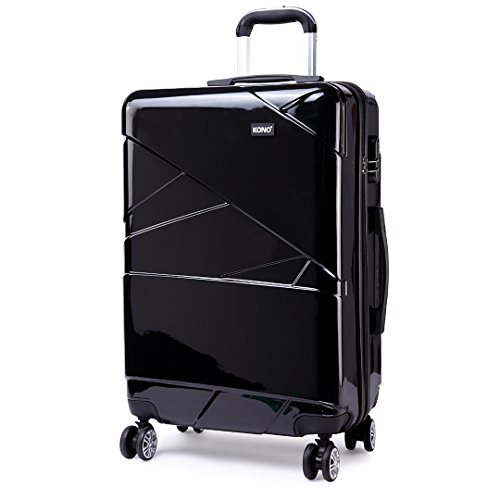 """Kono Black Suitcase Super Lightweight Hard Shell PC Luggage 4 Spinner Wheel Travel Trolley Case 20"""" Hand Luggage Cabin Carry-On"""