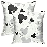 BSUDILOK Pack of 2 Mickey Pillow Case Cushion Cover 18x18 Inchs Anime Cartoon Pillowcase Standard Throw Pillow Covers for Couch Sofa Bedding Home Decorative Pillowcases