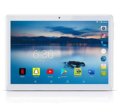 MANJEE Android Tablet 10 inch with 2.5D Curved Glass IPS Screen, Unlocked Wi-Fi 3G Phablet 4 GB RAM 64 GB Storage Dual Cameras, Supports Bluetooth GPS (Silver)