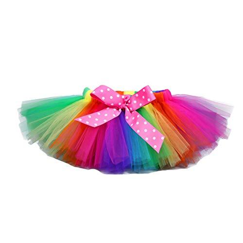 Tutu Dreams Rainbow Tutu Toddler Girls Birthday Party Costume Vintage 80s Rockstar Dress Up Carnival Masquerade Party (2-3T, Rainbow)
