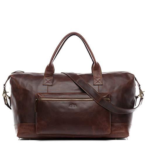 SID & VAIN borsa viaggio tracolla vera pelle vintage BRIXTON grande borsone bagaglio a mano sportiva 60 l duffle bag weekend uomo marrone