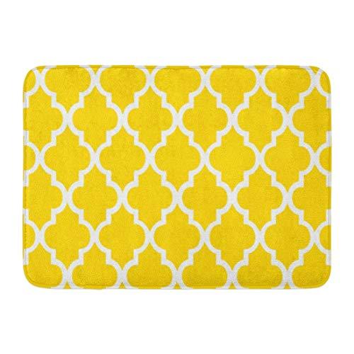 Alfombra de baño Colorido Geométrico Amarillo Cuadritos Azulejos Patrón Girly Baño Decoración Alfombra