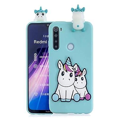 SEEYA Funda Silicona 3D para Xiaomi Redmi Note 8T Case Azul Dibujo Unicornio Carcasas y Fundas para móviles Suave Flexible Delgado Bumper Diseño Kawaii Animados Caso Blando Bonitas