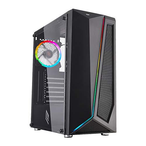 Noua Nexus P4 Black Case ATX per PC Gaming 0.45MM SPCC 3*USB3.0/2.0 Ventola RGB Addressable 5V 3-Pin e Strip LED ADD-RGB Front ABS/Mesh e Pannello Laterale in Vetro Temperato (AxPxL: 425x387x187 mm)