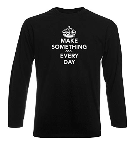 T-Shirt por los Hombre Manga Larga Negra TKC0527 Keep Calm and Make Something Cool Every Day