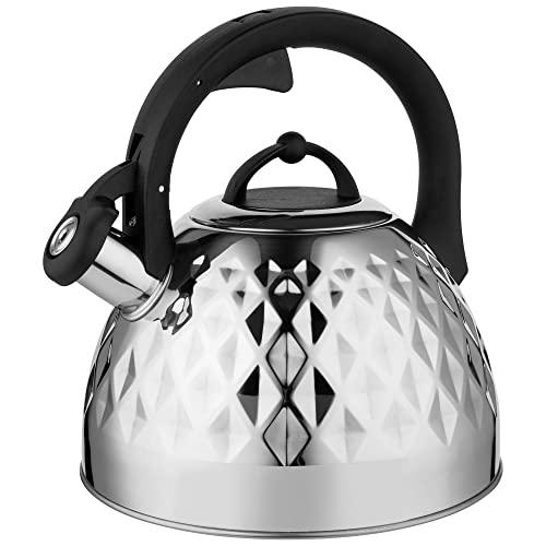Florina Fenny Mirror Tetera con Silbato 2,5 L, Diseño Moderno, Hervidor de Agua, Inducción, Vitrocerámica, Todo Tipo de Cocinas, Acero Inoxidable Brillo