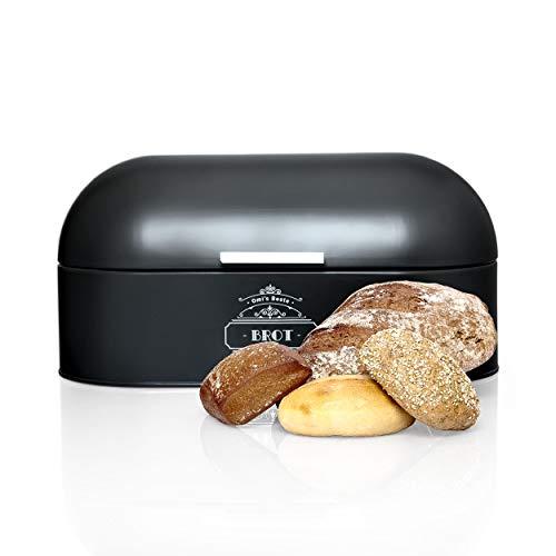 Omi\'s Beste© Brotkasten aus Metall I Hochwertige Brotbox in verschiedenen Farben I Stillvolle Aufbewahrung für noch länger frisches Brot Crossaints & Brötchen - Brotbehälter Brotdose Brotaufbewahrung