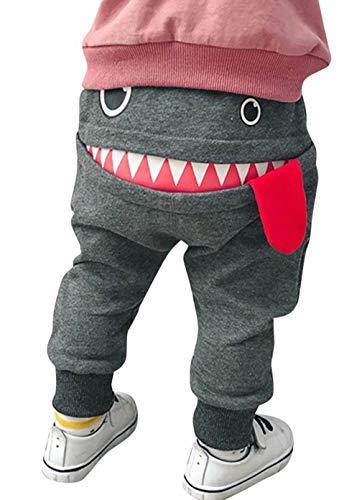Toddler Boys Girls Cartoon Monster Thick Pants Cute Shark Sweatpants Cotton Harem Trousers Kids Baby Spring Autumn Pants Gray