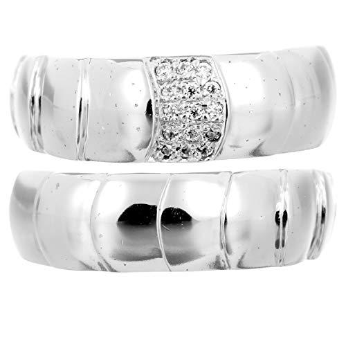 [ココカル]cococaru ペアリング シルバー リング2本セット ダイヤモンド マリッジリング 結婚指輪 日本製(レディースサイズ12号 メンズサイズ18号)