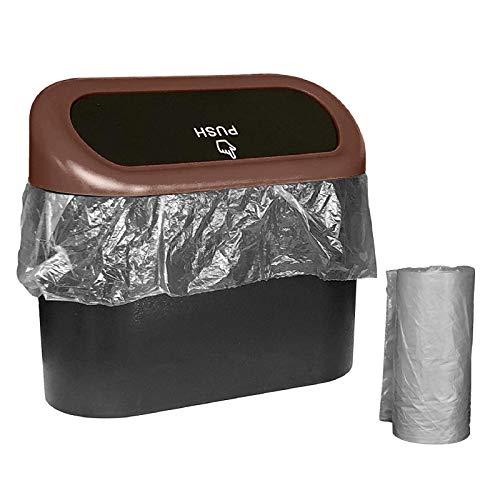 A/H Mini Mülleimer mit Deckel, Wasserdicht & auslaufsicher Auto Organizer Faltbarer Müllsack, KFZ Abfalleimer Wasserdicht Abfallbehälter Auslaufsicher Autositztasche (Coffee)