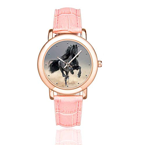 InterestPrint Funny Friesian Horse Running Women's Waterproof Wrist Watch with Pink Leather Band
