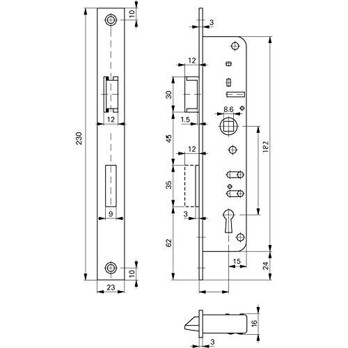 ROTO 246822 Schmalkasten-Schloss 852 | Dornmaß: 35 mm | Tosisch mit Wechsel