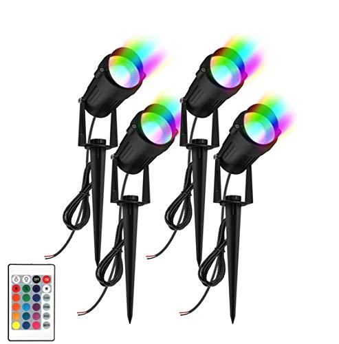 Gartenstrahler RGB T-SUNRISE Gartenleuchte mit Erdspieß Wasserdich Gartenbeleuchtung Rgb Landschafts Beleuchtung für Weg Hof Rasen