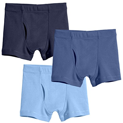 City Threads Big Boys Organic Cotton Boxer Brief for Sensitive Skin and SPD Sensory Friendly Clothing, 3Pack Blues, 12