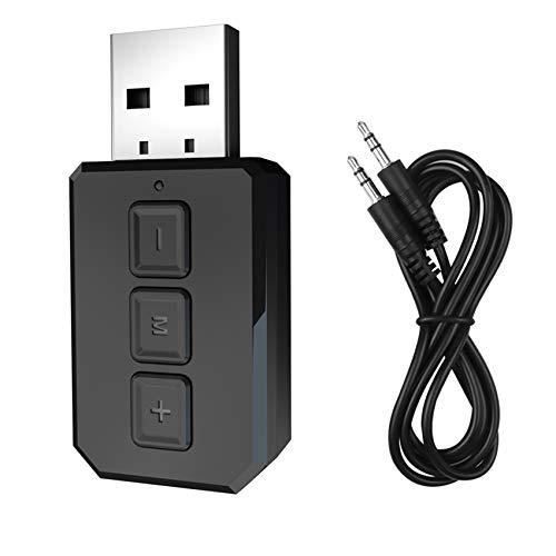 Rpanle Adattatore Bluetooth 5.0 USB, USB Adattatore Bluetooth 5.0 Trasmettitore Ricevitore con 3.5mm AUX Audio, Plug And Play, per TV/PC/Altoparlanti/Telefoni/Autoradio, Distanza Di Trasmissione 10 M