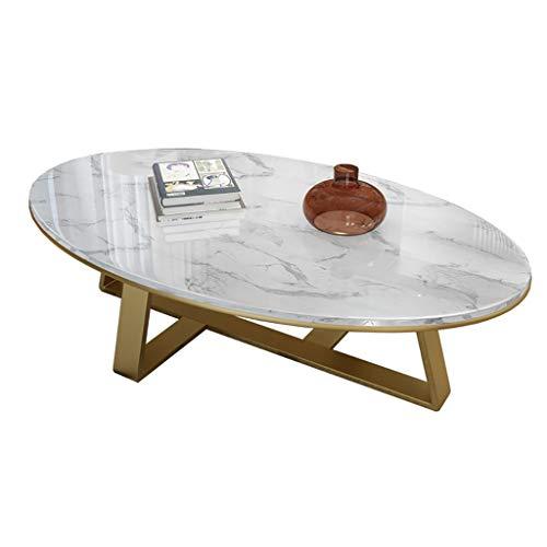 FZH salontafel ovale marmeren tafel, frame van verguld roestvrij staal, salontafel/bijzettafel/middentafel woonkamer - accenttafel, bijzettafel