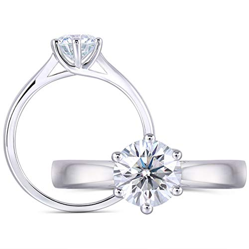 DovEggs 1ct 6.5mm Round Cut 2.6mm Band Width Lab Grown Moissanite Engagement Ring Platinum Plated Sterling Silver